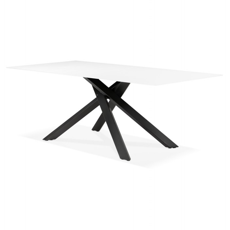 Table à manger design en verre et métal noir (200x100 cm) WHITNEY (blanc) - image 48904