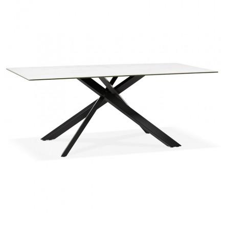 Ceramic and black metal design dining table (180x90 cm) FLORINA (white)