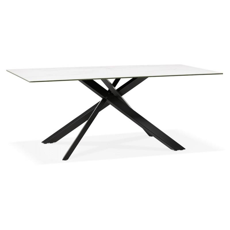 Mesa de comedor de diseño cerámico y negro metálico (180x90 cm) FLORINA (blanco) - image 48911