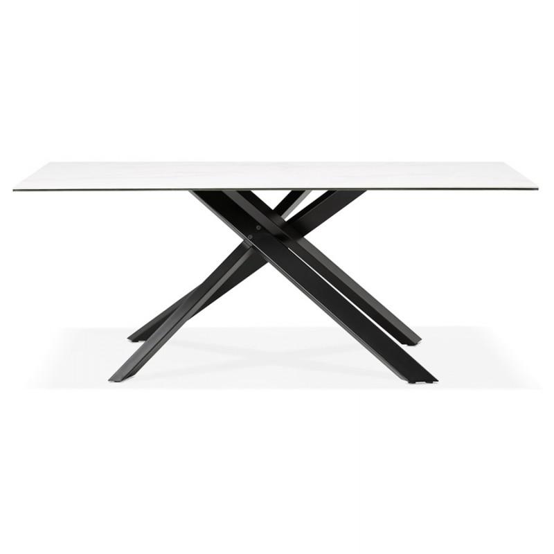 Table à manger design en céramique et métal noir (180x90 cm) FLORINA (blanc) - image 48912