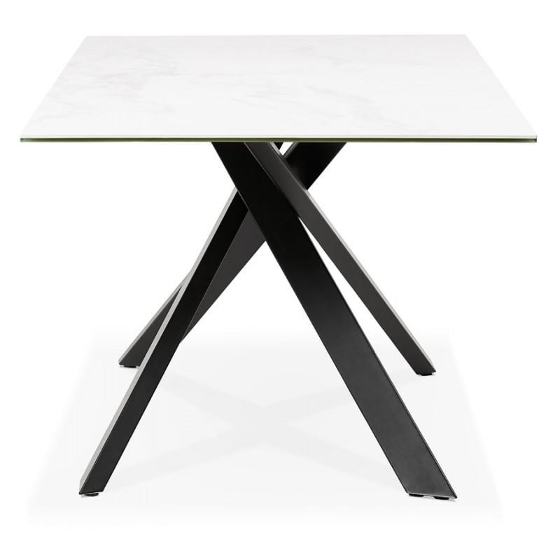 Table à manger design en céramique et métal noir (180x90 cm) FLORINA (blanc) - image 48913