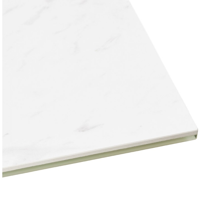 Mesa de comedor de diseño cerámico y negro metálico (180x90 cm) FLORINA (blanco) - image 48915