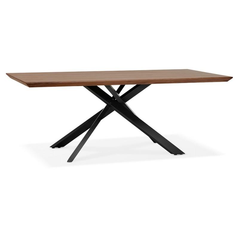 Table à manger design en bois et métal noir (200x100 cm) CATHALINA (noyer) - image 48921