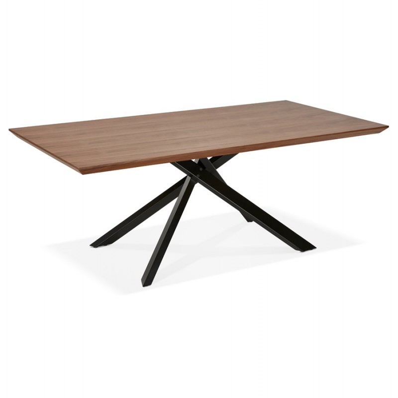 Table à manger design en bois et métal noir (200x100 cm) CATHALINA (noyer) - image 48925