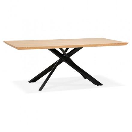 Tavolo da pranzo in legno e metallo nero (200x100 cm) CATHALINA (finitura naturale)