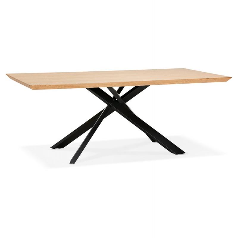 Mesa de comedor de diseño de madera y metal negro (200x100 cm) CATHALINA (acabado natural) - image 48932