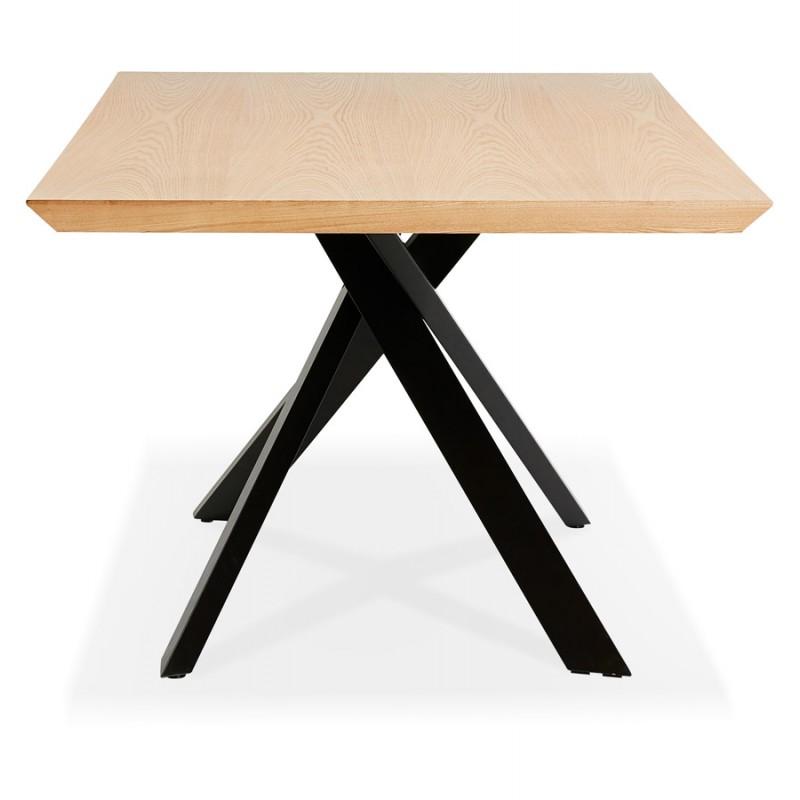 Mesa de comedor de diseño de madera y metal negro (200x100 cm) CATHALINA (acabado natural) - image 48934