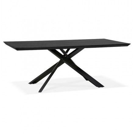 Wooden and black metal design dining table (200x100 cm) CATHALINA (black)
