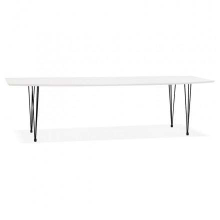 Extendable wooden dining table and black metal feet (170/270cmx100cm) JUANA (matte white)