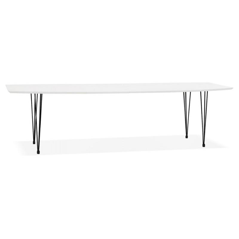 Table à manger extensible en bois et pieds métal noir (170/270cmx100cm) JUANA (blanc mat)
