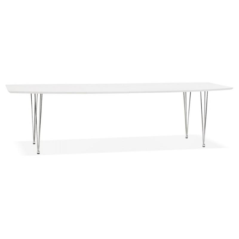 Mesa de comedor de madera extensible y pies cromados (170/270cmx100cm) JUANA (blanco mate)