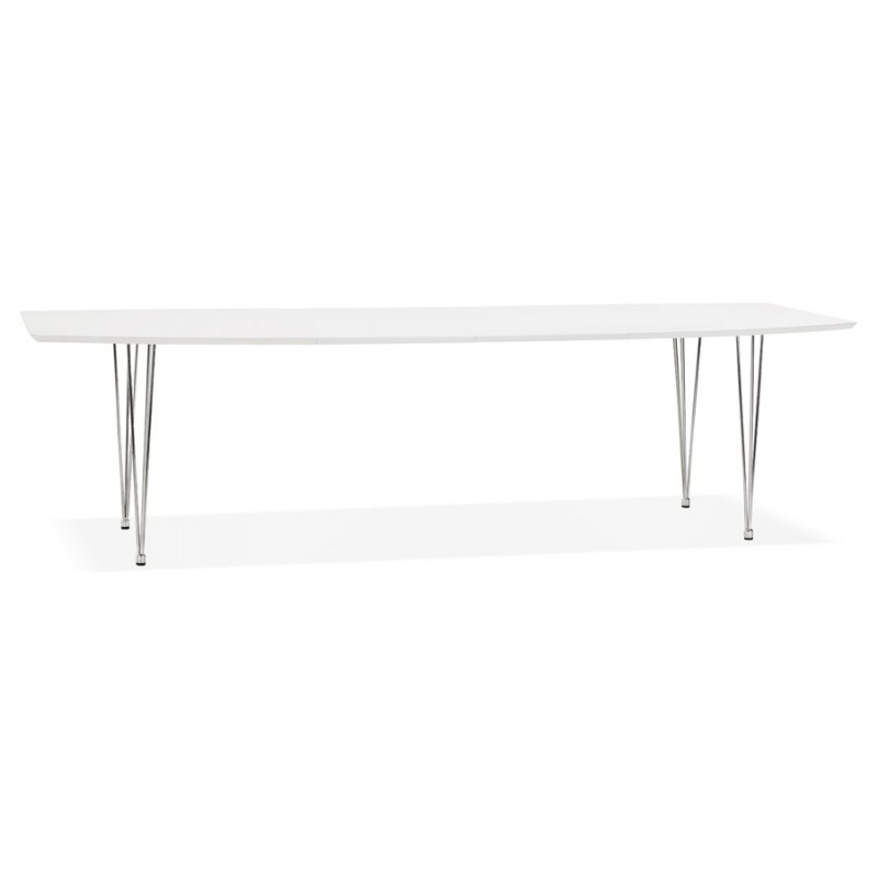 Table à manger extensible en bois et pieds chromés (170/270cmx100cm) JUANA (blanc mat)