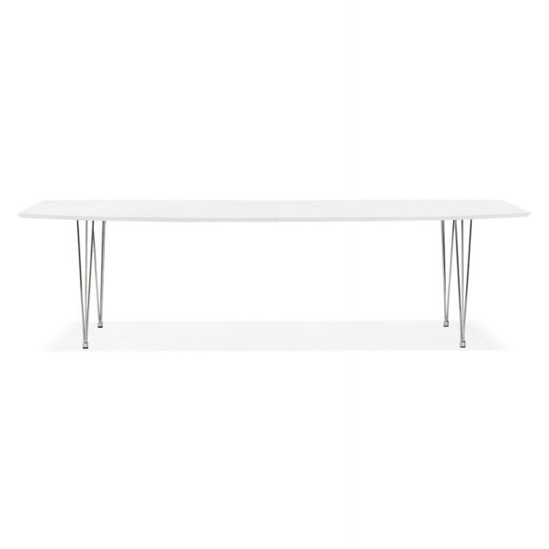 Mesa de comedor de madera extensible y pies cromados (170/270cmx100cm) JUANA (blanco mate) - image 48989