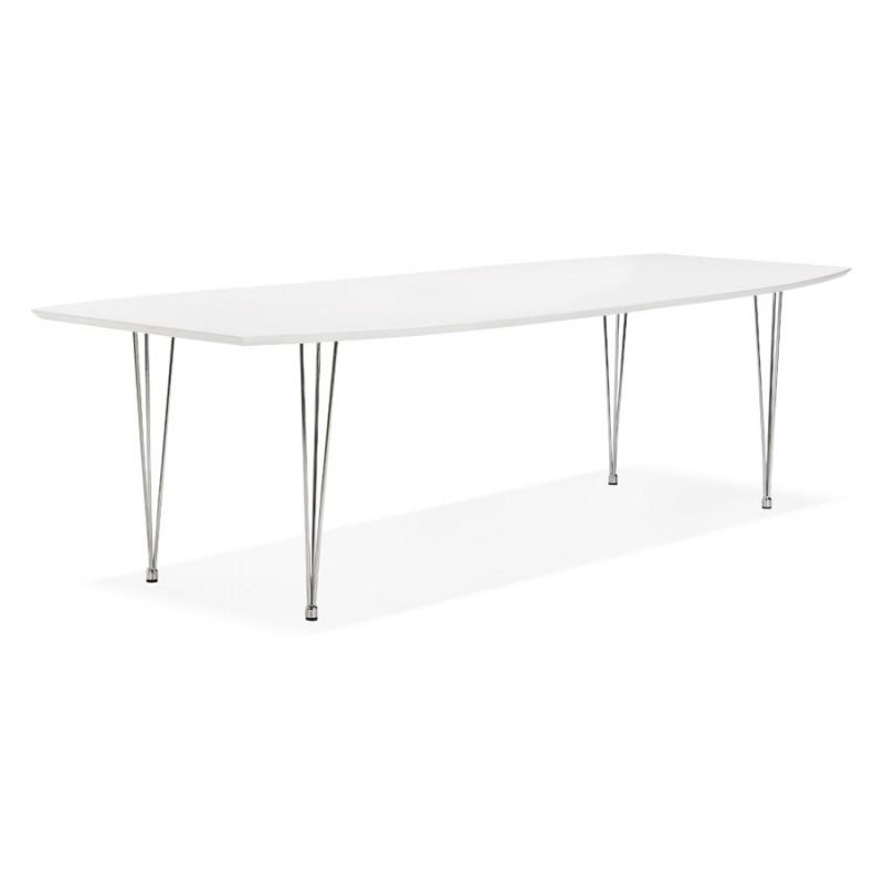 Mesa de comedor de madera extensible y pies cromados (170/270cmx100cm) JUANA (blanco mate) - image 48991