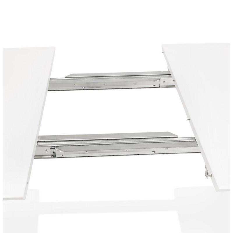 Mesa de comedor de madera extensible y pies cromados (170/270cmx100cm) JUANA (blanco mate) - image 48997