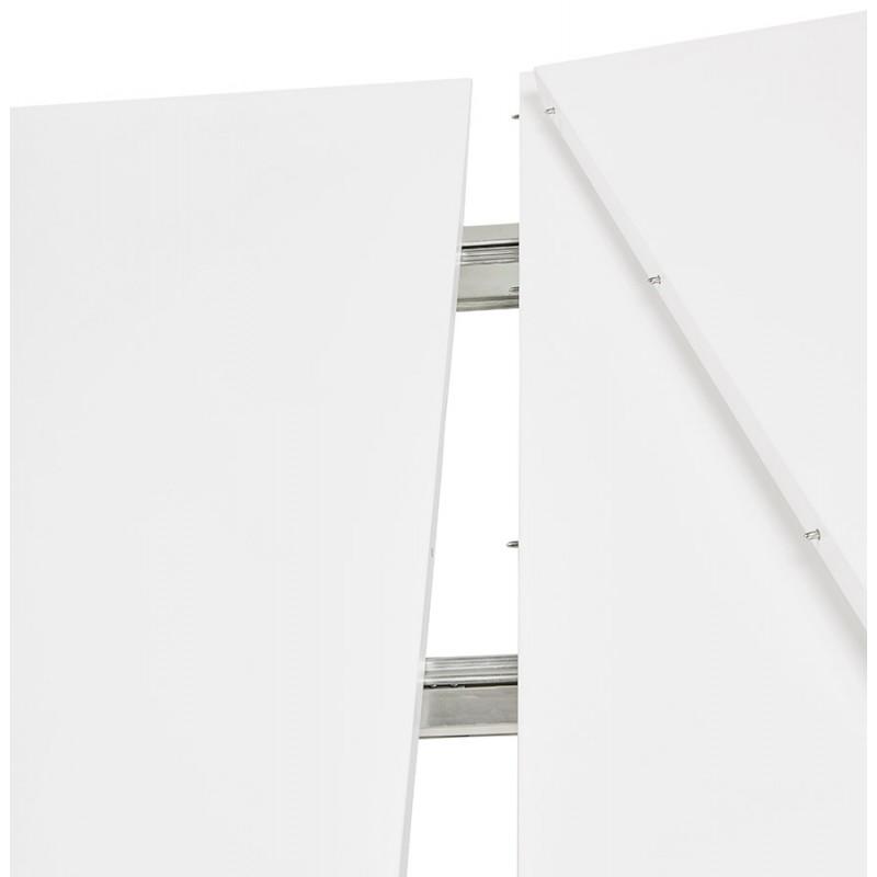 Table à manger extensible en bois et pieds chromés (170/270cmx100cm) JUANA (blanc mat) - image 48999