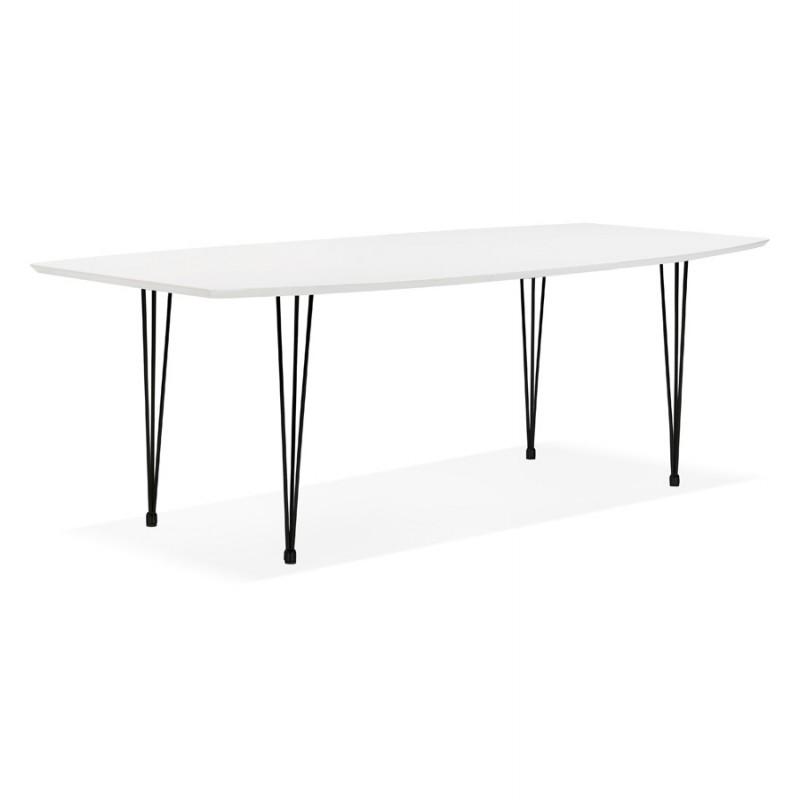 Table à manger extensible en bois et pieds noirs (170/270cmx100cm) LOANA (blanc laqué) - image 49006
