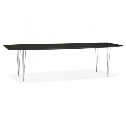 Tavolo da pranzo in legno estensibile e piedi cromati (170/270cmx100cm) RINBO (nero)
