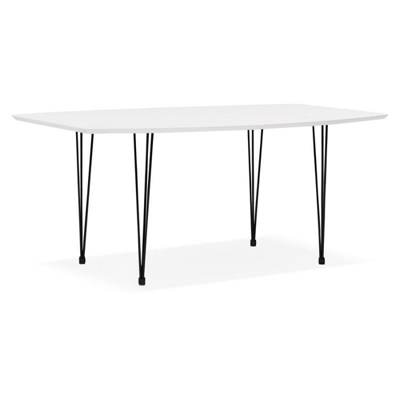 Table à manger extensible en bois et pieds noirs (170/270cmx100cm) LOANA (blanc laqué) - image 49008
