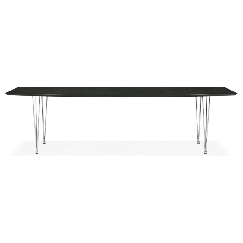 Table à manger extensible en bois et pieds chromé (170/270cmx100cm) RINBO (noir) - image 49009