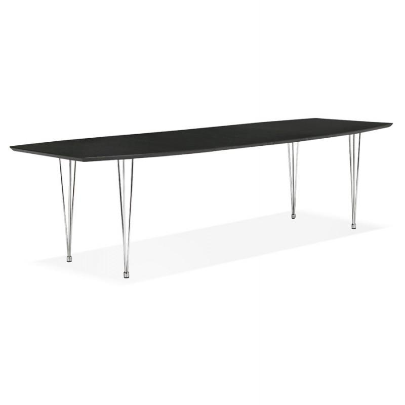 Table à manger extensible en bois et pieds chromé (170/270cmx100cm) RINBO (noir) - image 49013