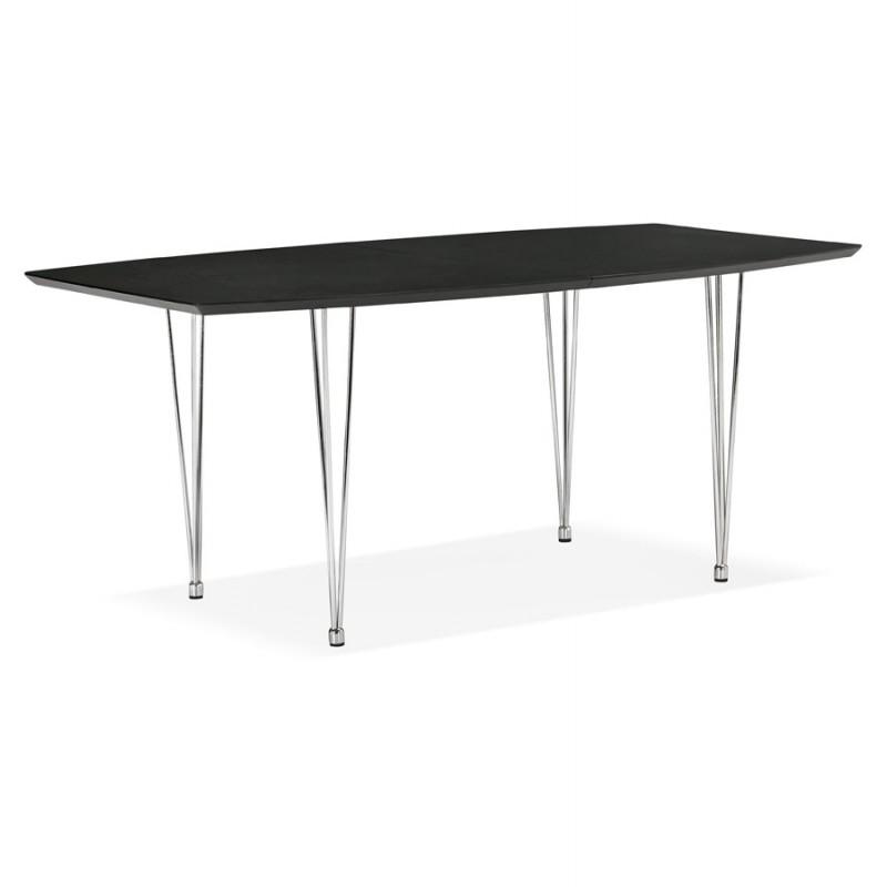 Table à manger extensible en bois et pieds chromé (170/270cmx100cm) RINBO (noir) - image 49017