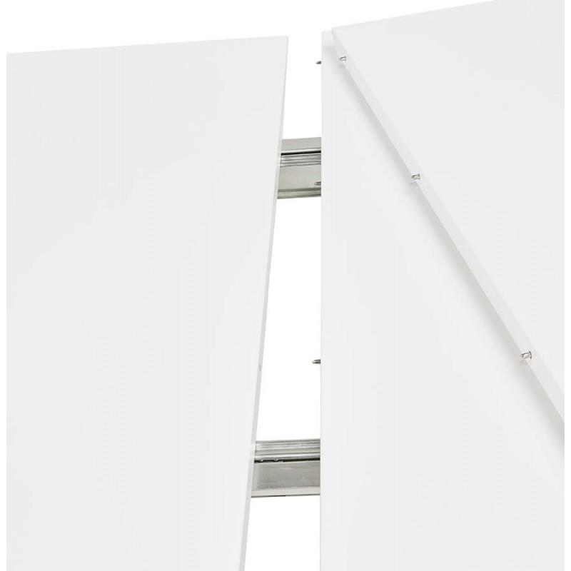 Table à manger extensible en bois et pieds noirs (170/270cmx100cm) LOANA (blanc laqué) - image 49020