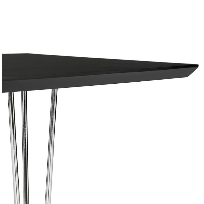 Table à manger extensible en bois et pieds chromé (170/270cmx100cm) RINBO (noir) - image 49023