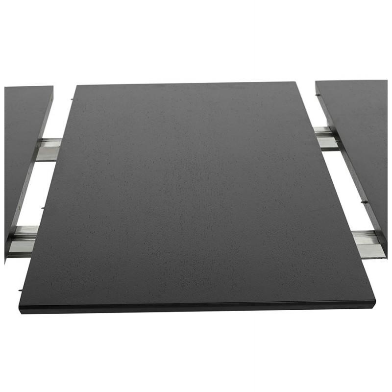 Table à manger extensible en bois et pieds chromé (170/270cmx100cm) RINBO (noir) - image 49027