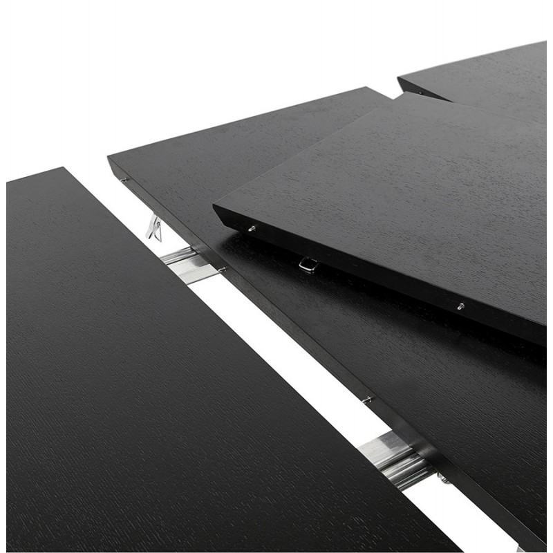 Table à manger extensible en bois et pieds chromé (170/270cmx100cm) RINBO (noir) - image 49029