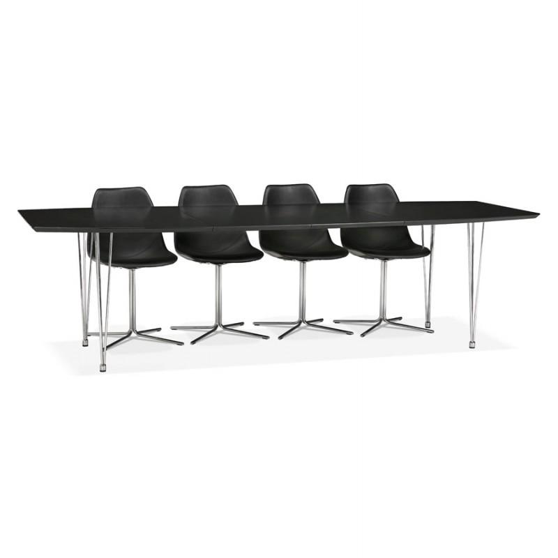 Table à manger extensible en bois et pieds chromé (170/270cmx100cm) RINBO (noir) - image 49033