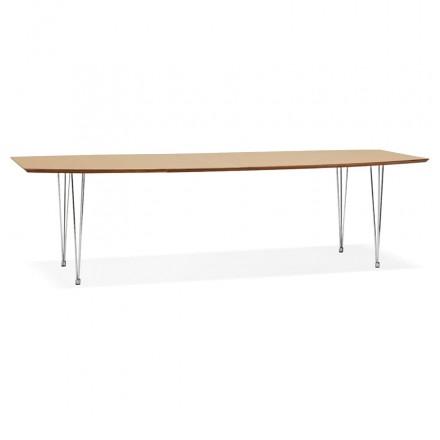 Table à manger extensible en bois et pieds chromé (170/270cmx100cm) RINBO (finition naturelle)