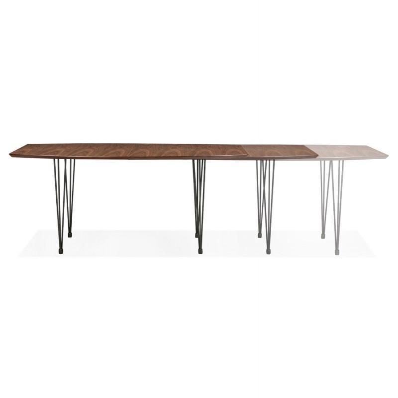 Table à manger extensible en bois et pieds noirs (170/270cmx100cm) LOANA (noyer) - image 49036