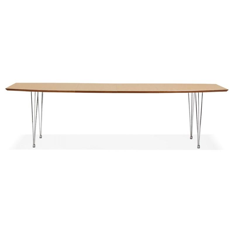 Mesa de comedor de madera extensible y pies cromados (170/270cmx100cm) RINBO (acabado natural) - image 49037