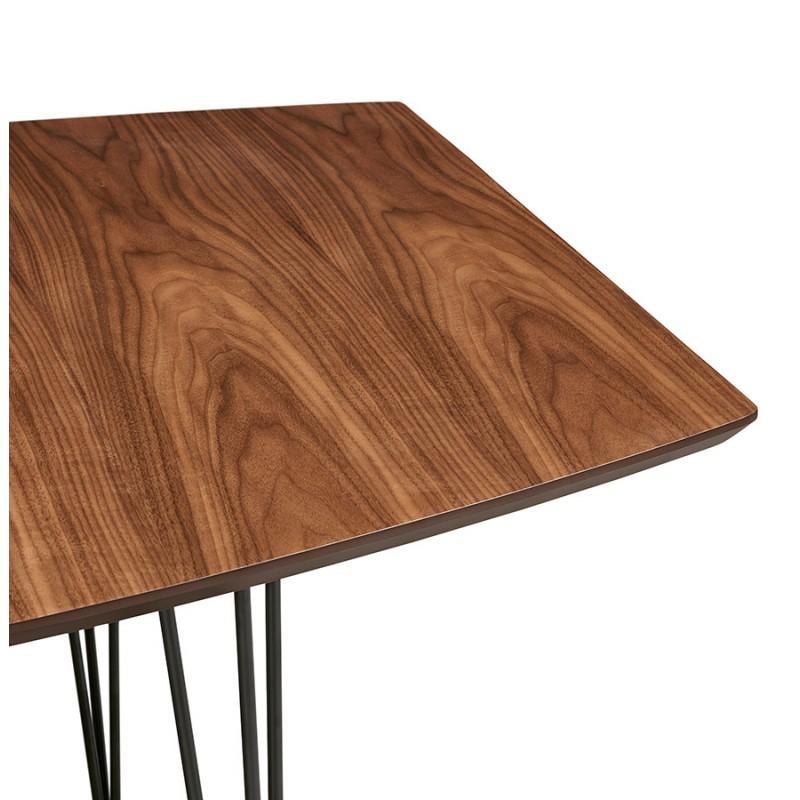 Table à manger extensible en bois et pieds noirs (170/270cmx100cm) LOANA (noyer) - image 49038