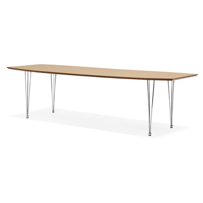 Mesa de comedor de madera extensible y pies cromados (170/270cmx100cm) RINBO (acabado natural) - image 49041