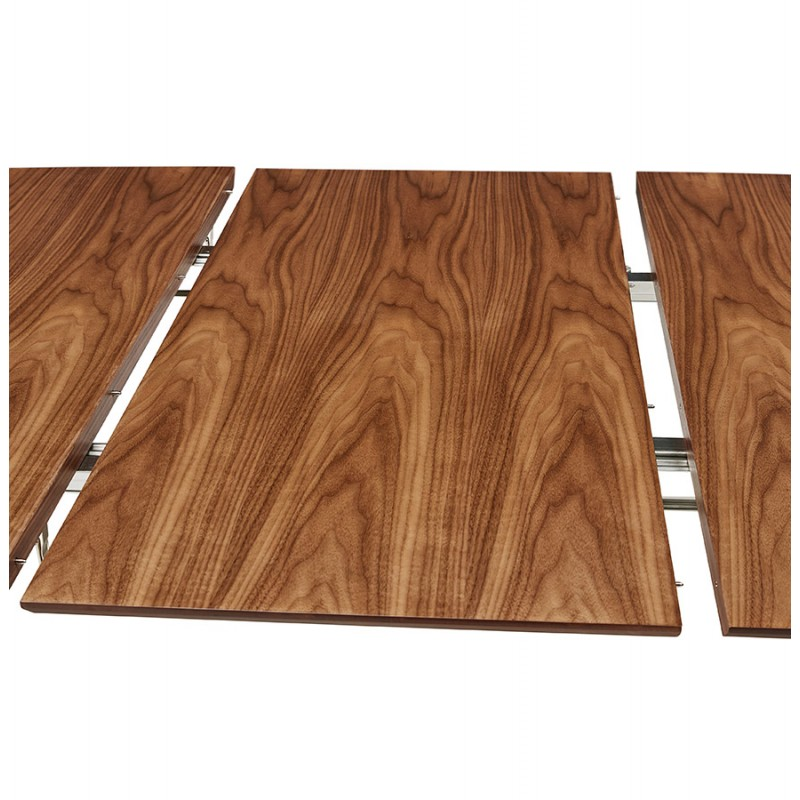 Table à manger extensible en bois et pieds noirs (170/270cmx100cm) LOANA (noyer) - image 49044