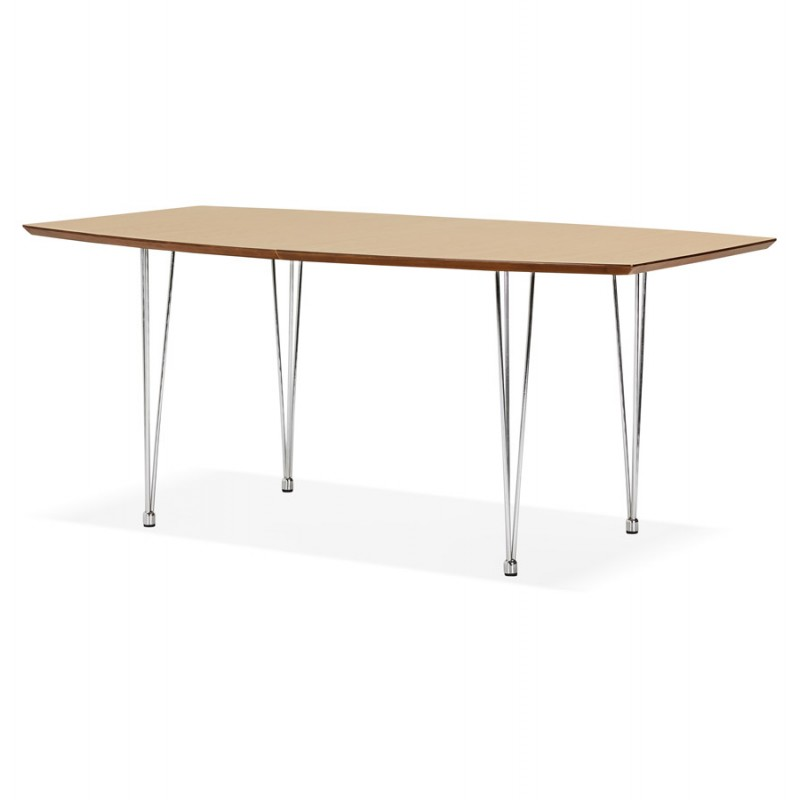 Table à manger extensible en bois et pieds chromé (170/270cmx100cm) RINBO (finition naturelle) - image 49045