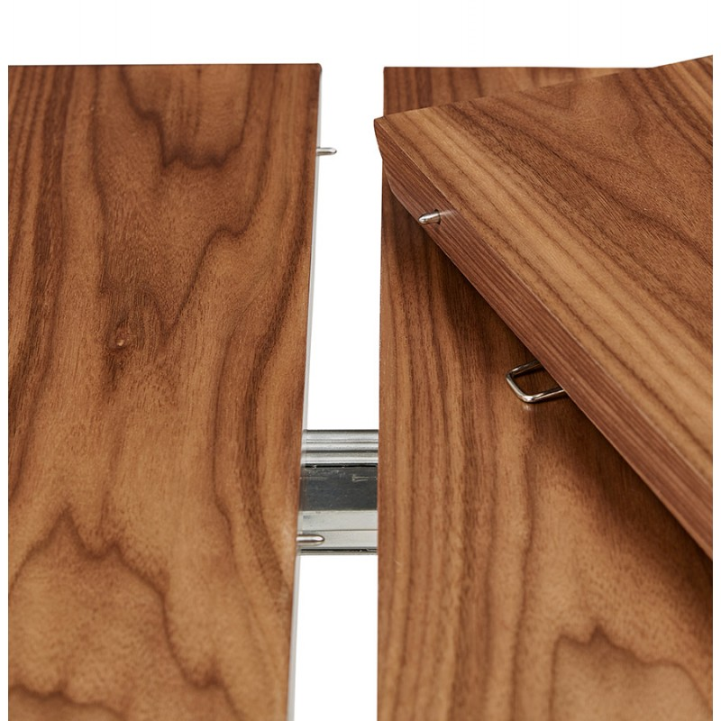 Table à manger extensible en bois et pieds noirs (170/270cmx100cm) LOANA (noyer) - image 49047