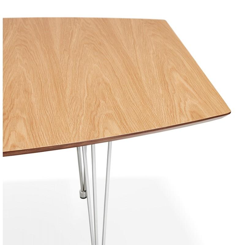 Table à manger extensible en bois et pieds chromé (170/270cmx100cm) RINBO (finition naturelle) - image 49048