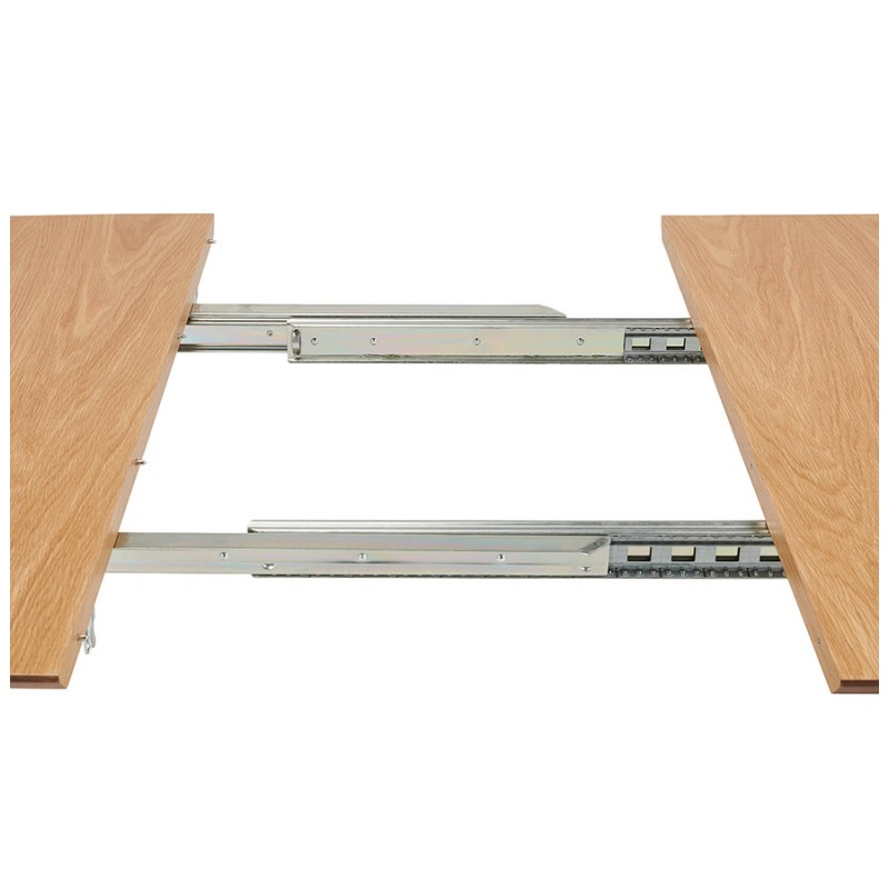 Mesa de comedor de madera extensible y pies cromados (170/270cmx100cm) RINBO (acabado natural) - image 49054