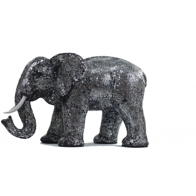 Statue ELEPHANT design decorative sculpture in resin (black, silver) - image 49098