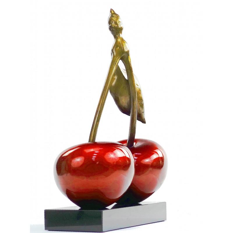 Statue sculpture décorative design CERISE DOUBLE en résine H46 cm (rouge) - image 49110