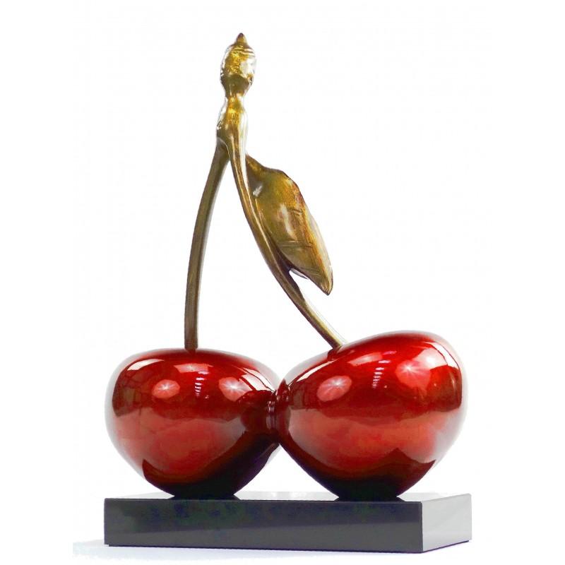 Statue sculpture décorative design CERISE DOUBLE en résine H46 cm (rouge) - image 49111