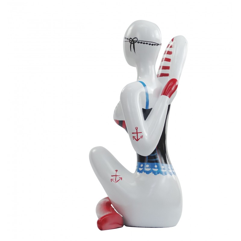 Statue sculpture décorative design FEMME ASSISE jambes croisées en résine H54 cm (multicolore) - image 49127