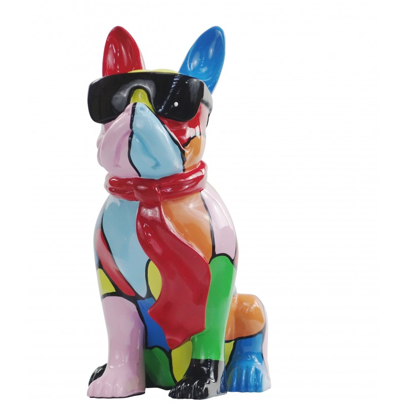 Resin statue sculpture decorative design dog A SUNGLASSES stand H36 (multicolor) - image 49159