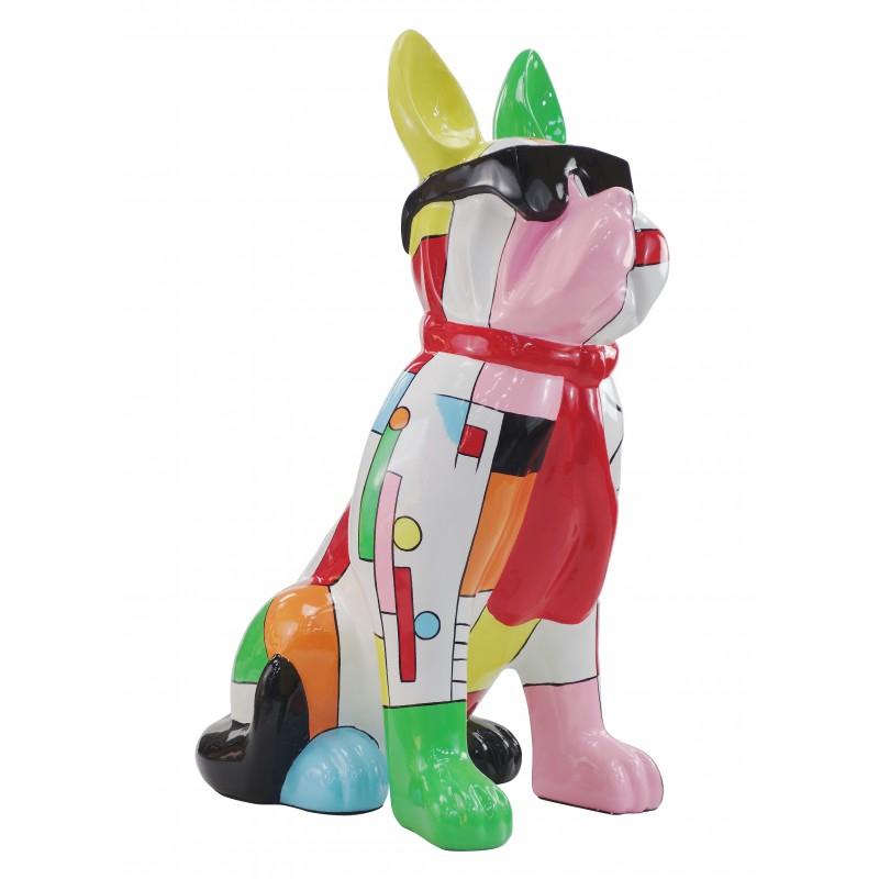 Perro de diseño decorativo de la escultura de resina estatua permanente H102 (multicolor) - image 49169