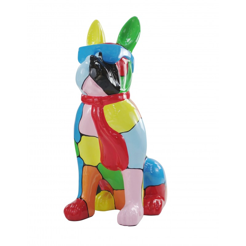 Resin statue sculpture decorative design dog A glasses standing H102 (multicolor) - image 49171