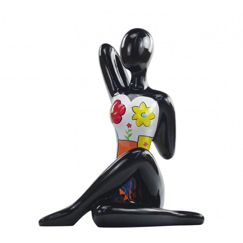 Statue sculpture décorative design FEMME ASSISE en résine H54 cm (multicolore) - image 49197