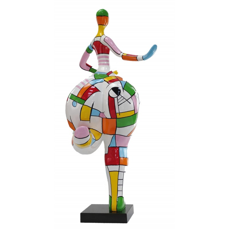 Statue woman Harlequin design decorative sculpture in resin H140 (multicolor) - image 49230
